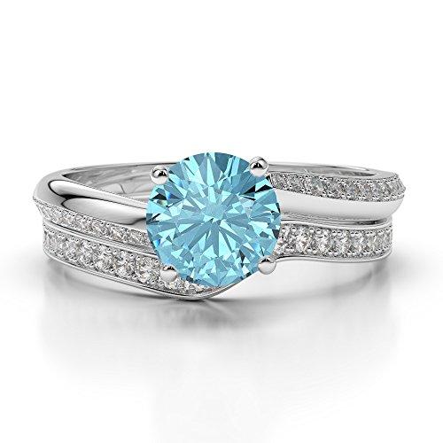 G-H/VS 1CT Coupe ronde sertie de diamants aigue-marine et diamants blancs et bague de fiançailles en platine 950Agdr-2017