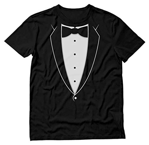 - Printed Tuxedo with Bowtie Suit Funny Men's T-Shirt Medium Black