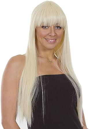 Hair By MissTresses Lady Gaga peluca en usar lejía Rubio Largo Recto peinado de Lady Gaga peluca en fibra de alto calor: Amazon.es: Belleza