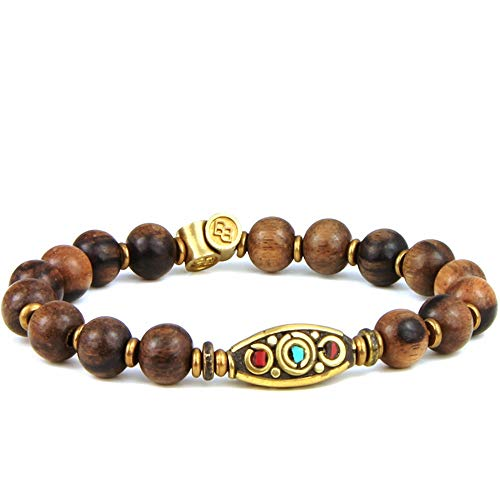 (BeachBu Designer Handcrafted The El Matador Bracelet - Genuine Olive Wood with Turquoise and Coral Inlay Statement Bead and Brass, Stretch Cord 7