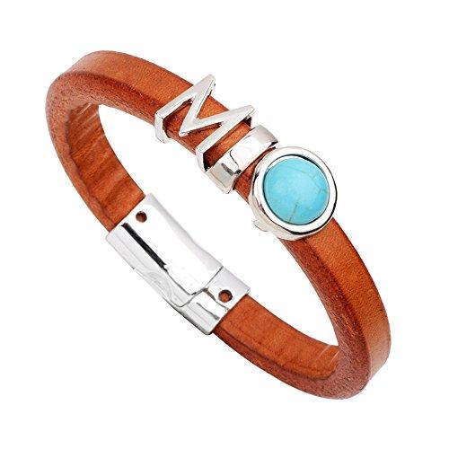Genuine Bracelets Orange (Orange Genuine Leather Energy Gemstone Studded Alloy Alphabet Bracelet Magnetic Snap-Turquoise Stone)