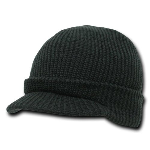 Decky Knit Visor Beanie (Decky Knit Jeep Watch Cap Visor Beanie (One Size, Black))