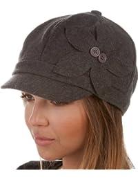 Sakkas Unisex Wool Newsboy / Cabbie Winter Hat / Cap with Button Flower Accent