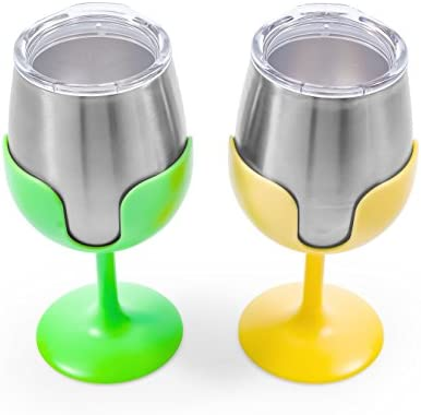 Vacuum Insulated Camco Yellow and Green Stainless Steel Tumbler Set with Removable Bright Lime Wine Glass Stems-Leak Proof Lid BPA Free 8 oz- 51916