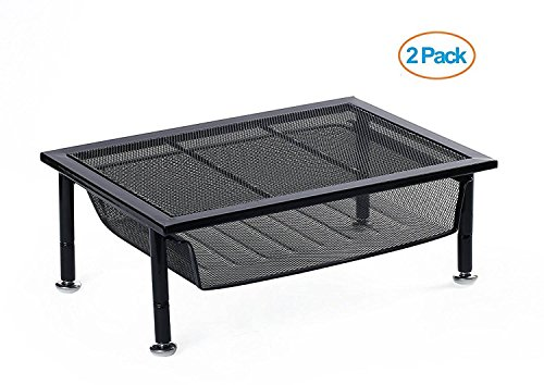 Vencer Adjustable Mesh Metal Monitor Stand/Riser with Pull Out Drawer Black,2-Pack,VMS-001