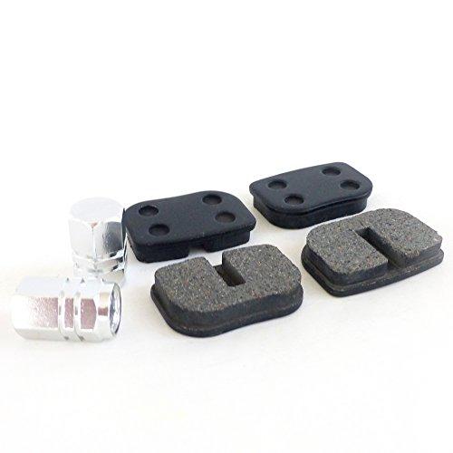 (Brake Pad Set 2-pack + Billet Valve Cap Set For Baja DB30, Mini, Blitz, Doodlebug, Racer Mini Bikes )