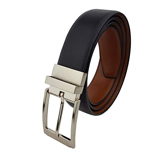 Satin Belt Reversible - Men's Vegan Reversible Belt Silver Buckle Black/Tan 36/38