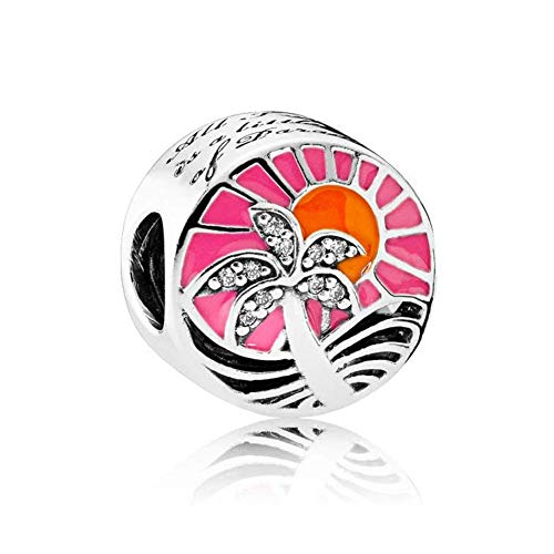 Romántico Amor Tropical Sunset Palm Trees on Ocean Beach Charm Nature Silver Bead fit Pandora Bracelets