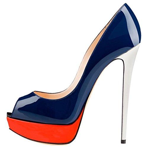 VASHOP Women's Platform Stiletto High Heels Pumps Peep Toe Dress Sandals Shoes,Navy/8.5 Review