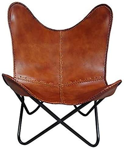 Leather Living Room Chairs Cover-Butterfly Chair Replacement Brown Cover-Handmade Genuine Leather Cover