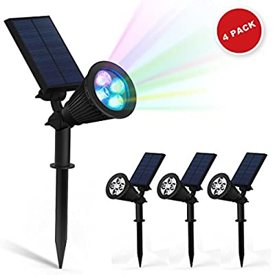 ZEEFO 4Pack LED Solar Wall Lights / In-ground Lights, 180°Angle Adjustable Waterproof 4LED 200 Lumens Solar Outdoor Spotlight, Security Night Lights For Landscape Lighting, Driveway, Yard, Lawn, Pathway, Garden, Deck, Ground