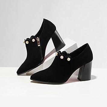 Jqdyl High Heels Tiefer Mund einzelne Schuhe dicke High Heel tiefen Mund Schuhe Damenschuhe