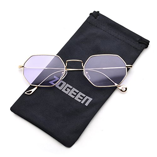 ZOGEEN Men Women Sunglasses Small Metal Frame Asymmetry Temple Z674 - Small Face Sunglasses Shape Round For