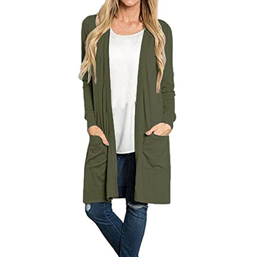 (Clearance Promotion! Women Coat, NEARTIME Solid Color Long Sleeve Cardigan Tops Loose Pocket Causal Lightweight Kimono Blouse)