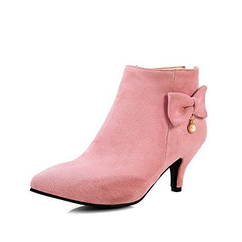 AllhqFashion Damen PU Leder Mittler Absatz Spitz Zehe Stiefel Pink