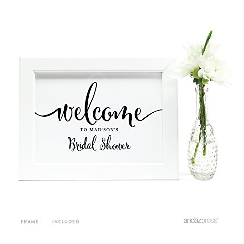 Andaz Press Personalized Wedding Framed Party Signs, Formal Black and White, 5x7-inch Wall Art, Poster, Gift, Welcome to Madison's Bridal Shower Sign, 1-Pack, Includes Frame, Custom Made Any ()