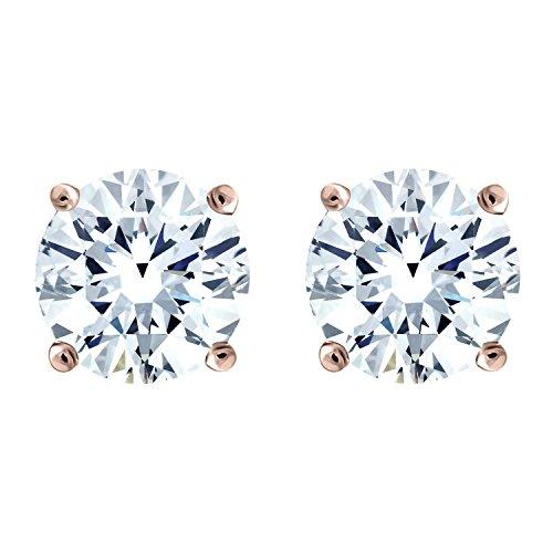 IGI Certified Diamond Stud Earrings for Women Set in 10K Rose Gold, (Clarity I2I3) by Diamond Hub (Image #1)