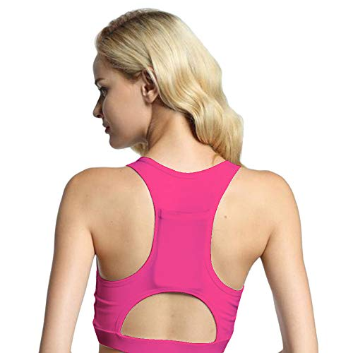 VEZAD Women One Piece Sport Bra Breathable Fittness 1/2 Cup Yoga Bra with Pocket
