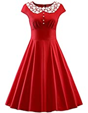 JAEDEN Lace Neck Womens Dresses Party Dresses 1950s Vintage Dresses Swing Stretchy Dresses