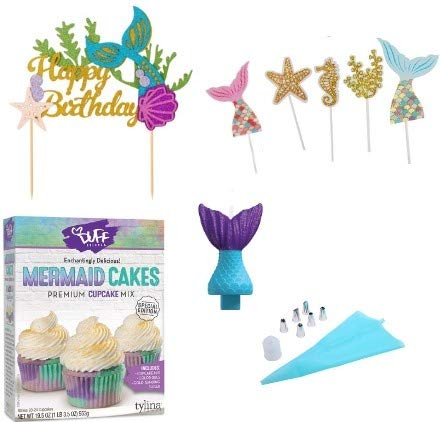 Mermaid Cake Mix, Happy Birthday Mermaid Cake Toppers, Mermaid Tail Birthday Candle, 8 pc Piping Set