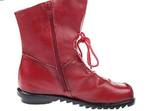 Women MatchLife Fleece Zip Leather Style3 Floral Vintage Boots Shoes Red 4fvwd
