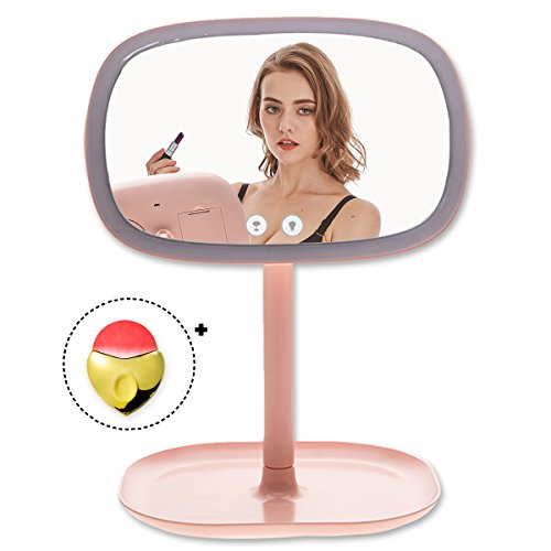 TOLEAP Makeup Vanity Mirror 37 Pcs Led Lighted With Touch Screen and 10 Pcs Backside Led Lights as A Table Light,360°Adjustable Rotation,Dual Power Supply, Countertop Cosmetic Mirror (Pink)