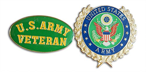 U.S Army Veteran & Wreath 2-Piece Lapel Pin or Hat Pin & Tie Tack Set with Clutch Back by Novel Merk