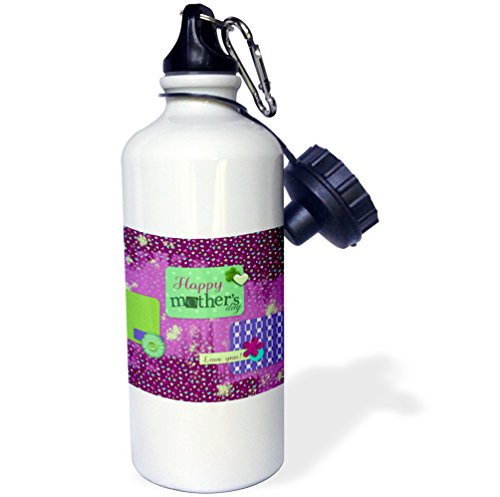 3dRose Beverly Turner Mothers Day Design - Happy Mothers Day on Banner, Flowers, Pink, Collage, I love you - 21 oz Sports Water Bottle (wb_239524_1) (Love Gardening Banner)