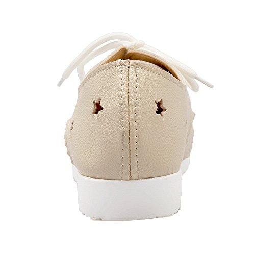 Allhqfashion Femme Pu Talons Bas Chaussures À Lacets Chaussures À Lacets Beige