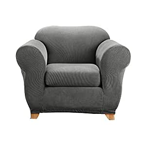 Elegant Sure Fit Stretch Madison Stripe One Piece Slipcover Gray, Chair, Grey