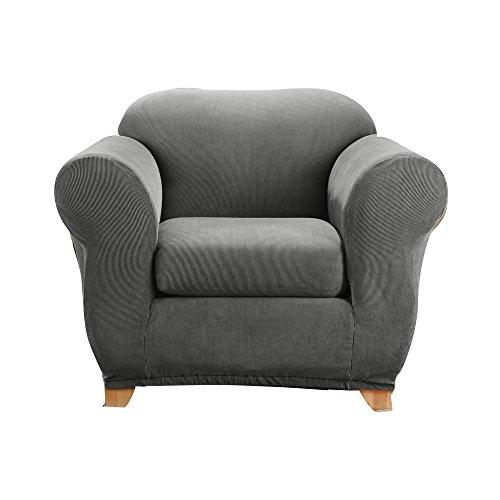 - SureFit Stretch Madison Stripe One Piece Gray Chair Slipcover, Grey