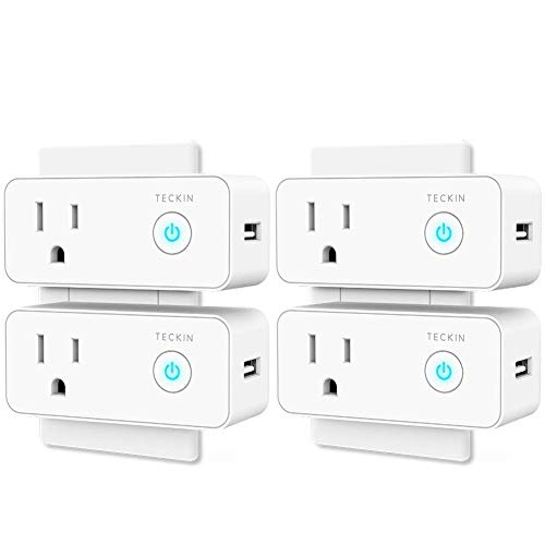 (Smart Plug Wifi Outlet USB mini Socket Compatible with Alexa, Google Home& IFTTT, Schedule Timer Function Control Electric Allliances Devices, Prevent Overcharging 4 Pack)