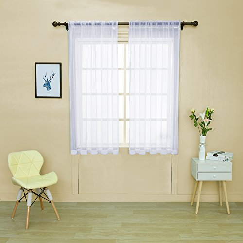 HOLKING Rod Pocket Sheer Curtains 63 inch for Bedroom Living Room Window Treatment Set White Curtains,2 Panels Each is 52 inches wide by 63 inches long
