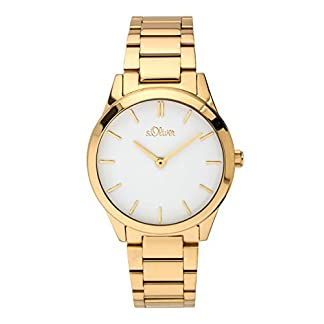 s.Oliver Damen Analog Quarz Armbanduhr mit Edelstahl Armband 10