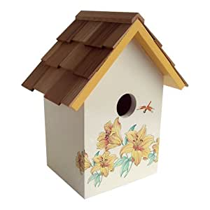Home Bazaar Printed Standard Birdhouse, Lily with Cream Background