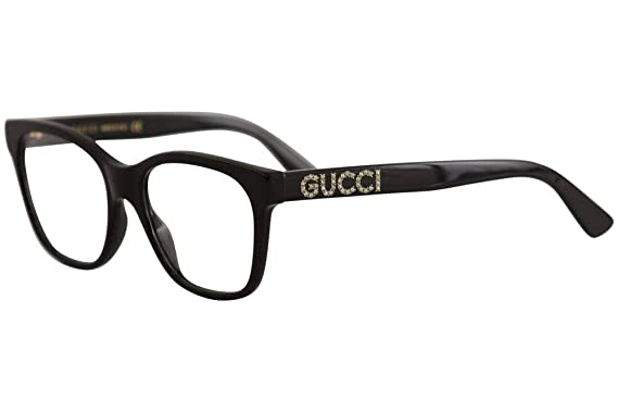 6db6b5b8104f Image Unavailable. Image not available for. Color: Gucci GG 0420O 001 Black  Plastic Square Eyeglasses 52mm