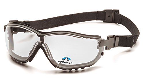 Pyramex Safety V2G Readers Eyewear, Black Strap/Temples, Clear +2.5 Anti-Fog Lens (Readers With Strap)