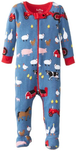 Hatley Baby Baby Boys' Footed Coverall Farmer Jack, Blue, 12 18 Months