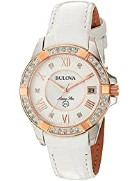 Women's Quartz Stainless Steel and Leather Casual Watch, Color:White (Model: 98R233)