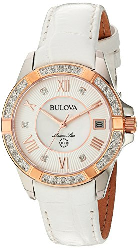 Bulova Women's Quartz Stainless Steel and Leather Casual Watch, Color:White (Model: 98R233)
