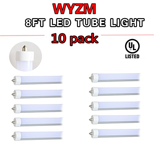 10 Pack 96'' 8ft Long 40w T12 LED Tube Single Pin, 120V 277V F96T12 / DX / ALTO 75 Watt T12 Linear Fluorescent Tube Replacement(10) by WYZM