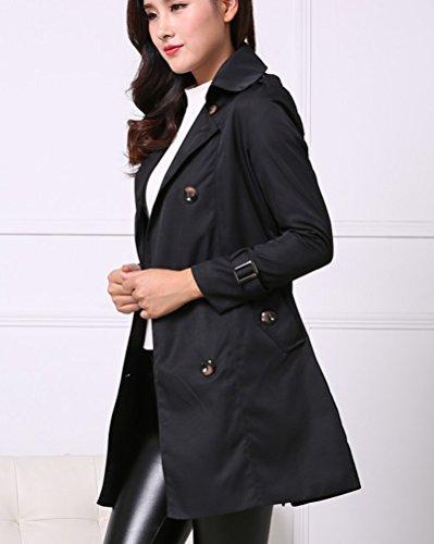 Mujeres Doble De Pecho Gabardina Larga Con Cinturón Color Sólido Casual Coat Negro
