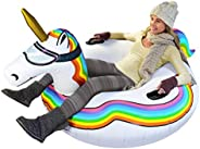 GoFloats Winter Snow Tube - Inflatable Sled for Kids and Adults (Choose from Unicorn, Ice Dragon, Polar Bear,