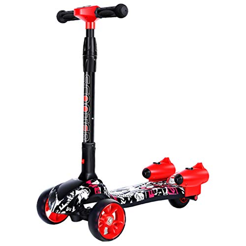 Scooter for Toddler and Kids Mist Kick Scooter Age 2-12 - Unique Rocket Misters & Sound Effects - Dual Rear Wheel Four Rounds of Full Flash Spray Scooter (Black)