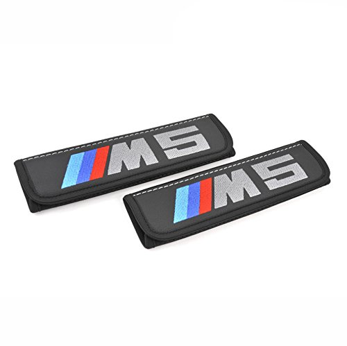 BMW M5 Sport seat belt pads cover shoulder for adults Black seatbelt covers pad with embroidered BMW M5 emblem Interior accessories Great idea for a gift to the driver! 2 pcs