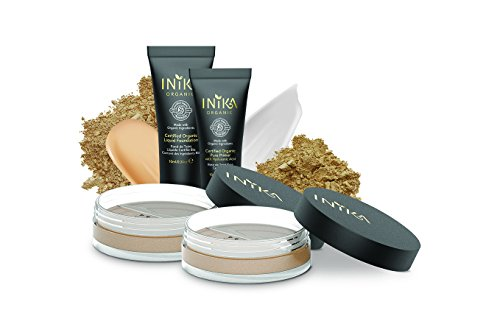 INIKA Trial Pack, All Natural Make-up Discovery Kit – 2 Mineral Foundation SPF25 (2 x 0.7 g), Certified Organic Liquid Foundation 4 ml, Certified Organic Pure Primer 4 ml (Dark)