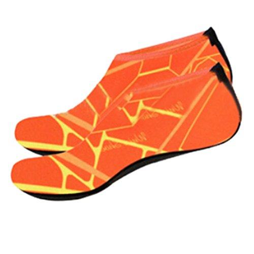 Schnell Orange Schlüpfen Herren Fitnessschuhe für Schwimmschuhe Breathable Trocknend Kinder Unisex Aquaschuhe Damen Yoga Schuhe FNKDOR 6gfWqAHXw