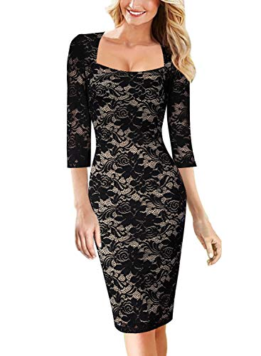 - VFSHOW Womens Floral Lace Print Square Neck Cocktail Party Bodycon Dress 1929 BLK XXL