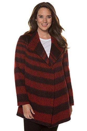 Ulla Popken Women's Plus Size Asymmetric Stripe Wool Mix Jacket. Dark Red Stripe 28/30 713755 50 (Wool Stripe Mix)