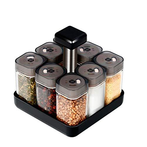 Suministros de Cocina de condimentos para el hogar Europeo para el condimento de cruceros de Vidrio Giratorio - 9 Sets
